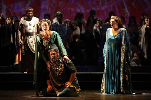 "Stephen Kechulius (Xerxes), Margaret Thompson (Zeresh), Roy Cornelius Smith (Haman) and Lauren Flanigan (Esther) in the New York City Opera's caftan-rich production of Weisgall's ""Esther."" Photo: Carol Rosegg."
