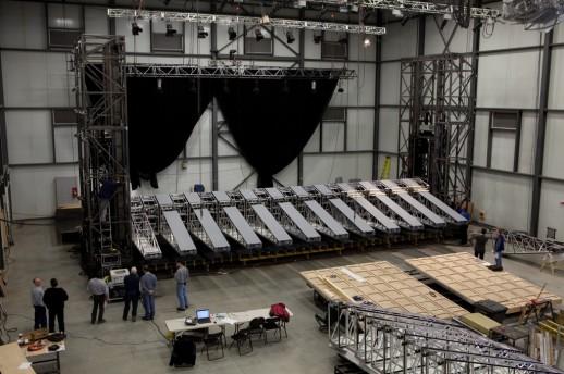 "onstruction of the Metropolitan Opera's new production of Wagner's ""Der Ring des Nibelungen"" (The Ring of the Nibelung) at Scène Éthique Studio in Varennes, Québec. Photo: Boris Firquet"